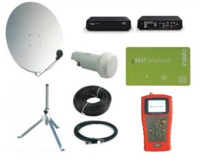 SatKing 80 cm portable VAST Dish Kit with digital meter & UEC VAST receiver
